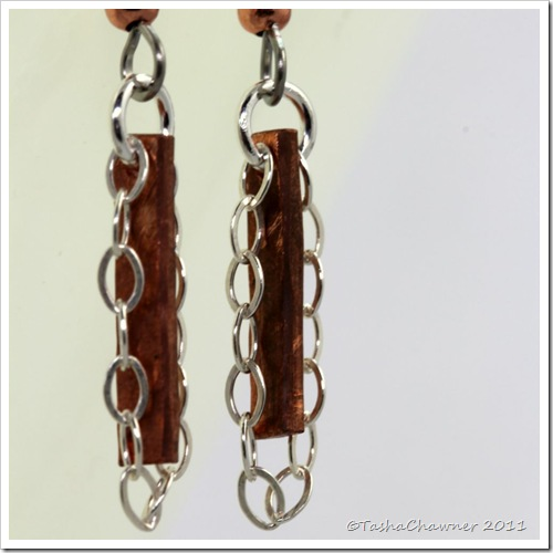 Copper & Sterling Silver Chain Earrings