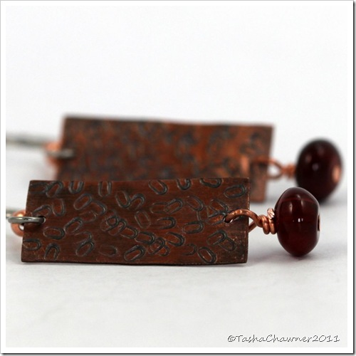 Stamped Copper Earrings with Carnelian Gemstone
