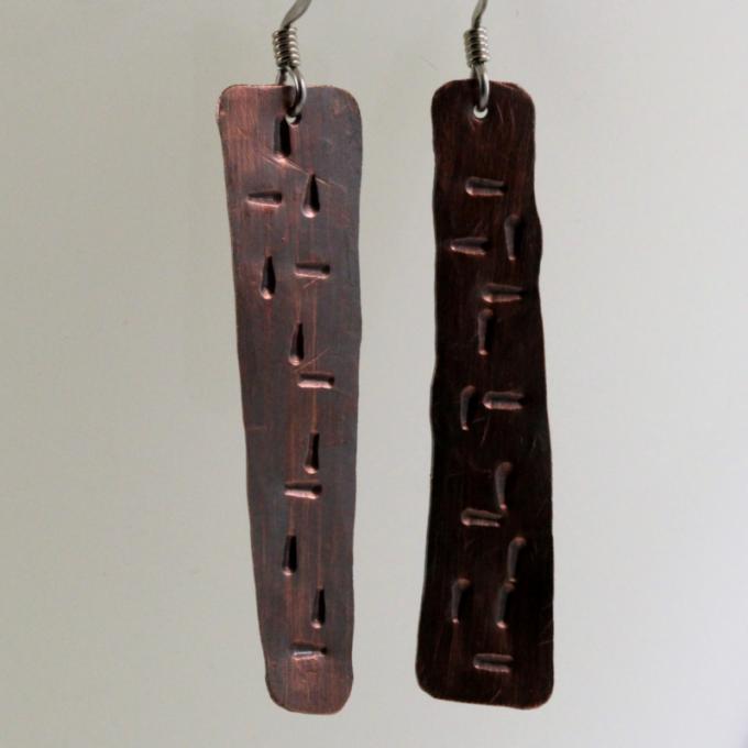 Stamped Antique Copper Asymmetrical Dangle Earrings