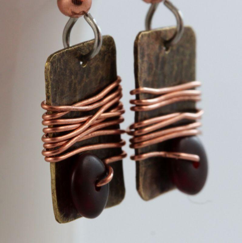 One of a kind, organic brass & copper earrings
