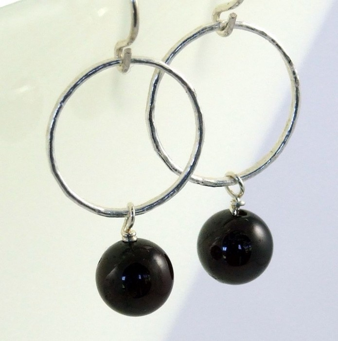 Handmade Fine Silver Hoops with Garnet Drop Earrings
