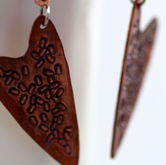 Stamped Copper Heart Earrings