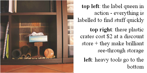 heavy tools are best stored on the bottom shelf
