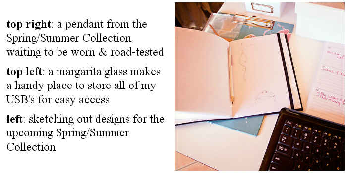 the sketch book where I sketch out jewellery design ideas