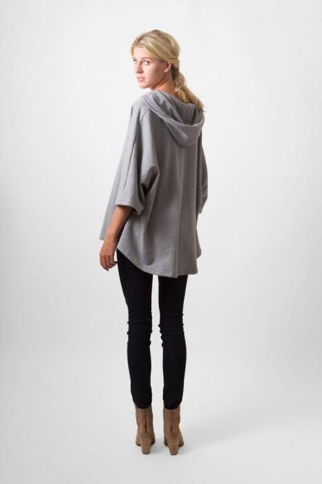 Grey marl hooded poncho by Bell+Beau