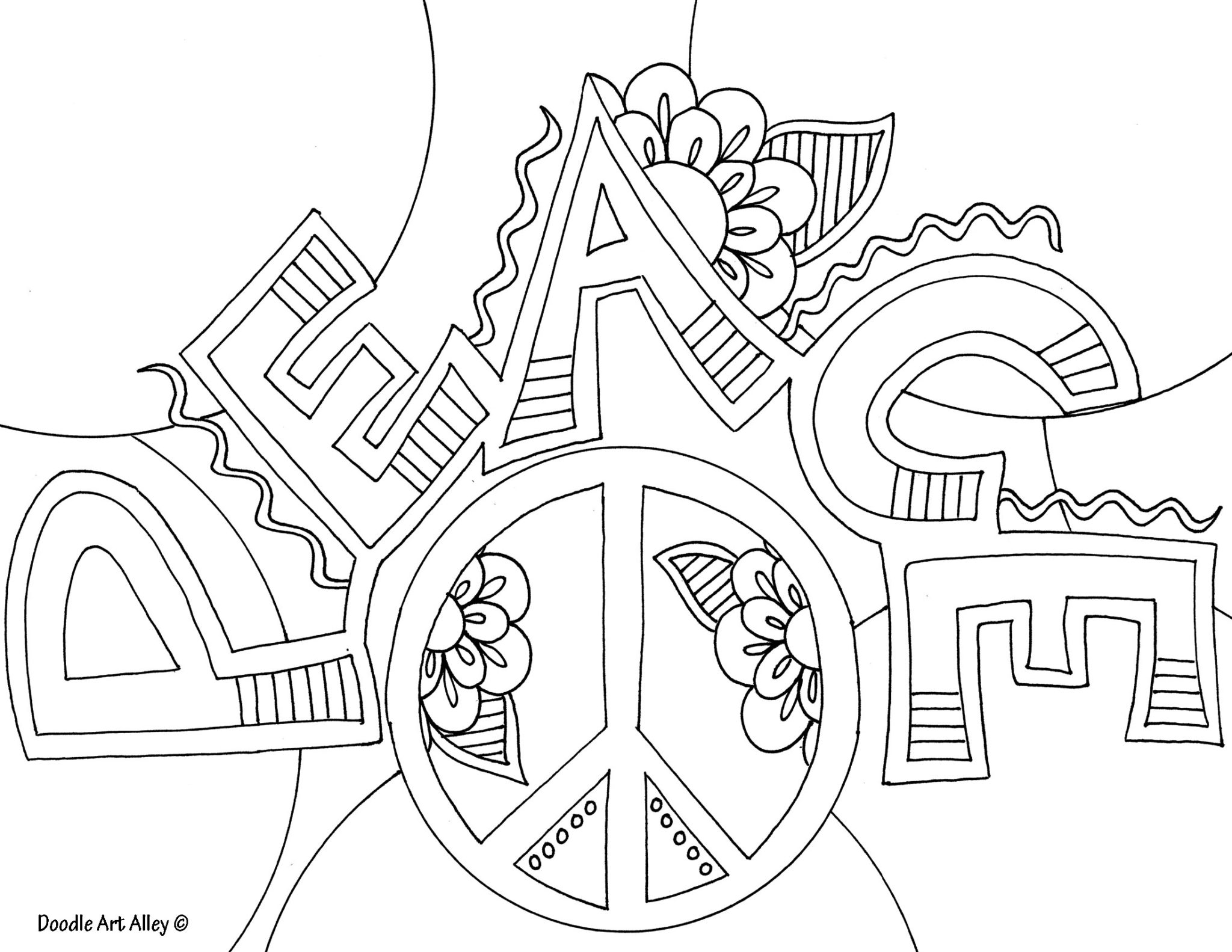 coloring pages peace love - photo#17
