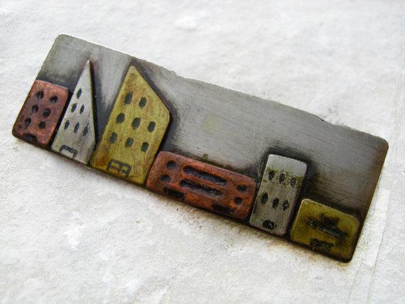 Mixed Metal City Pin