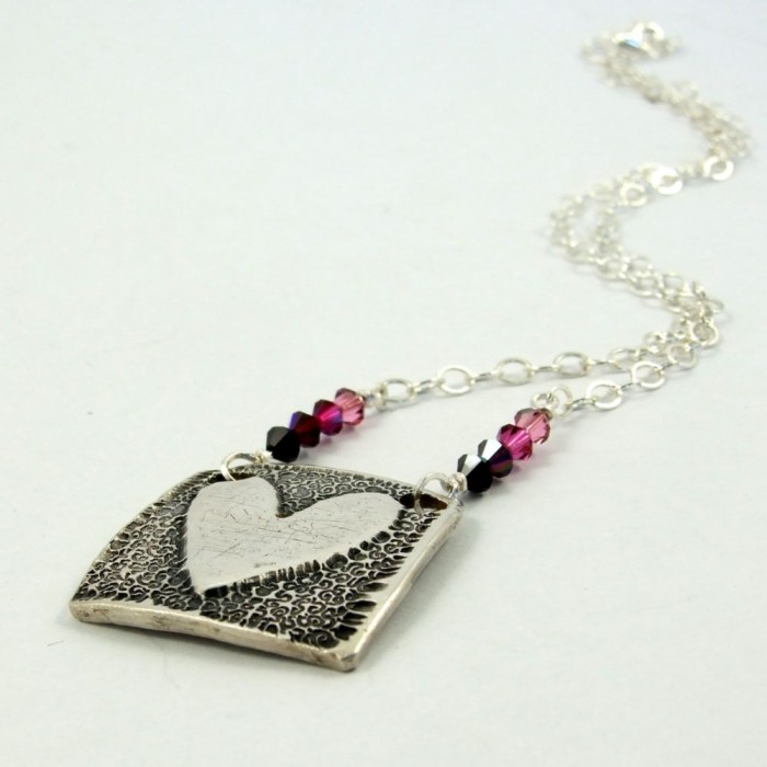 precious metal clay stamped heart necklace