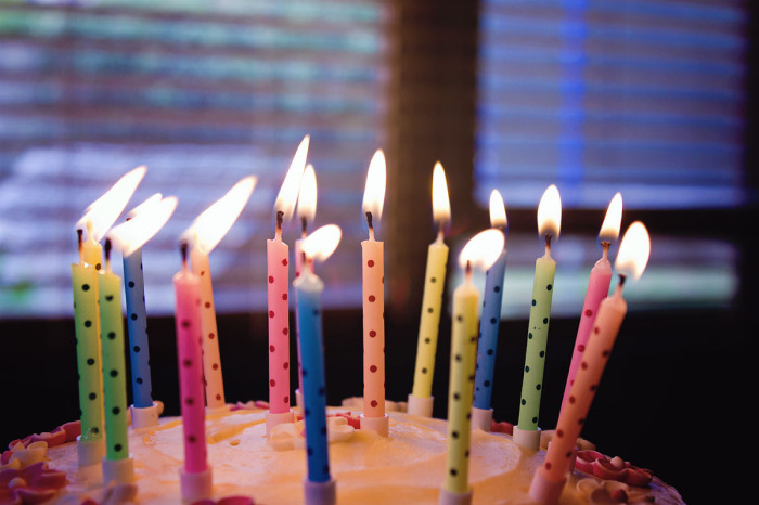 Birthday cake and colourful lit candles