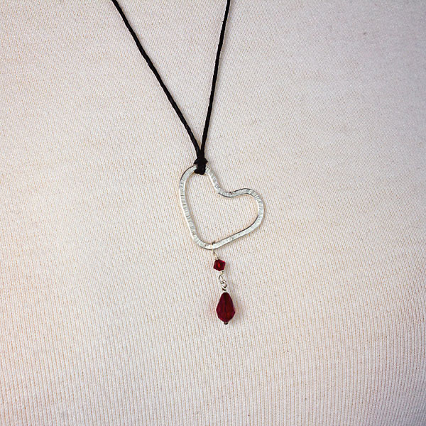 silver heart and swarovski crystal pendant