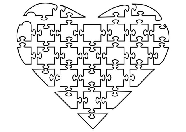 Jigsaw Heart Color In