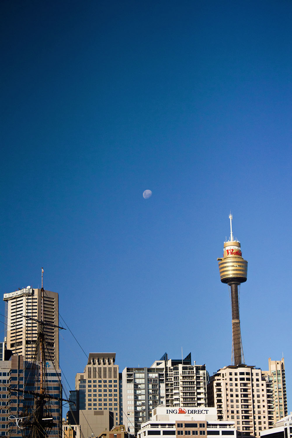 Moon over Sydney skyline