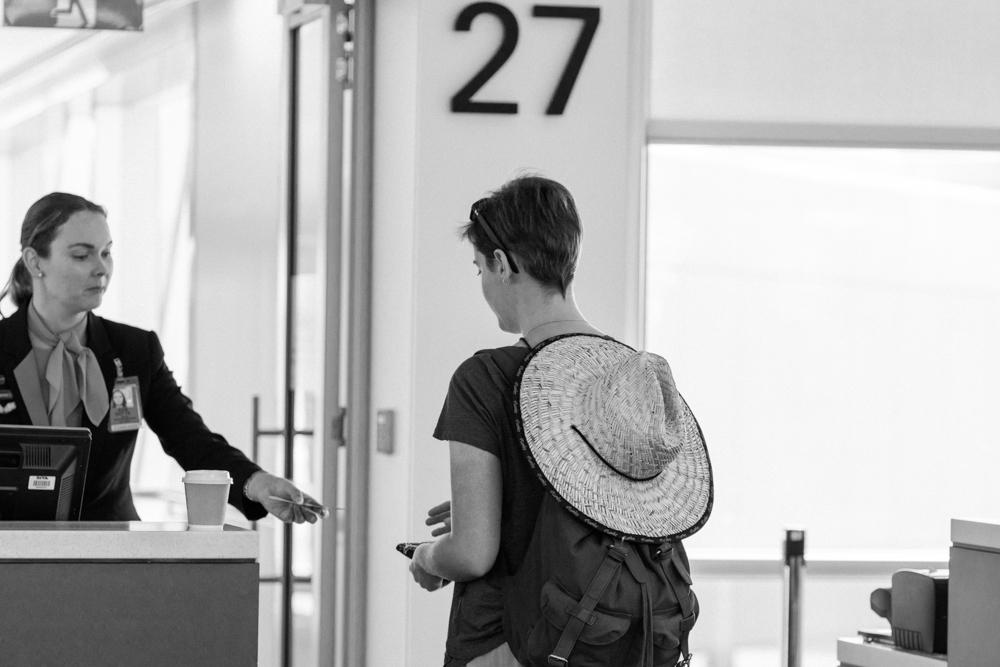 boarding the plane to Alice Springs