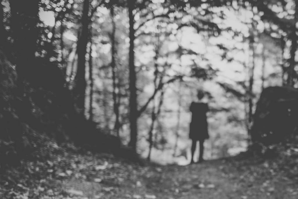 blurred photo of woman standing in forest
