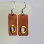 simple copper and brass drop earrings